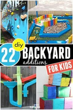 backyard ideas for kids -blue border road, rocks, sand, grass!