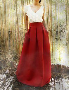 Falda larga plisada para boda Aran Arimoka