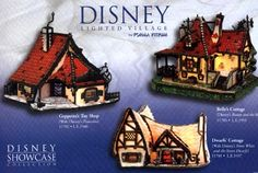 "Can I HAS it? DISNEY LIGHTED VILLAGE COLLECTION - New magical designs from the limited edition stained glass Disney Lighted Village Collection will join the Dwarfs' Cottage from Walt Disney's ""Snow White and the Seven Dwarfs."" Inspired by Disney's animated classics, Geppetto's Toy Shop from ""Pinocchio"" and Belle's Cottage from ""Beauty and the Beast"" are premiering at fine gift and collectible shops. When collectors peek through the windows they will be delighted to discover they can view… Disney Animated Classics, Disney Stained Glass, Christmas Fun, Christmas Ornaments, Disney Rooms, Disney Home Decor, Seven Dwarfs, Pinocchio, Toys Shop"