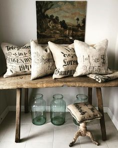 French Country House, French Country Decorating, Vintage Vignettes, Pillow Texture, Grain Sack, Cottage Style, French Vintage, Home Projects, Farmhouse Decor