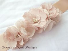 Amsale Inspired Blush Wedding Sash, Bridal Sash, Wedding Belt, Bridal Belt -Blush Flowers on Etsy, $65.00