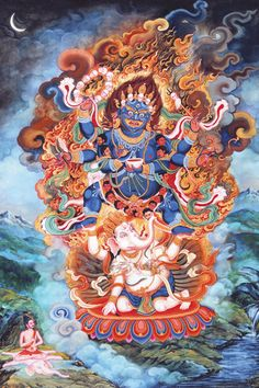 "danielwamba: "" In the Newar Buddhist tradition, Vighnantaka is an important Tantric deity and belongs to the group of ten wrathful diesties known as Dasamahakrodha. The deities are visualized as part of a preparatory ritual, to purify and rid. Tibetan Art, Tibetan Buddhism, Art Chinois, Thangka Painting, Buddhist Traditions, Japanese Tattoo Art, Exotic Art, Buddha Art, Baphomet"