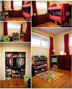 bunksbeds. stuff in a small room.