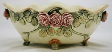 """WELLER ROMA CREAMWARE 4.5"""" x 10.5"""" FOOTED CENTER BOWL W/ROSE CLUSTERS MINT Weller Pottery, Roseville Pottery, Mint, Peppermint"""