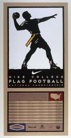 Michael Schwab (American, b. 1952). Nike Flag Football Poster, poster for Nike, 1997. Color offset lithograph poster. Gift of the artist. 1999.85.49. FAMSF