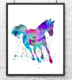 Horse Art Watercolor Print Blue Purple Wall Decor, Watercolor Painting Print, Animal Art, Animal Illustration by Thenobleowl on Etsy https://www.etsy.com/listing/219684687/horse-art-watercolor-print-blue-purple