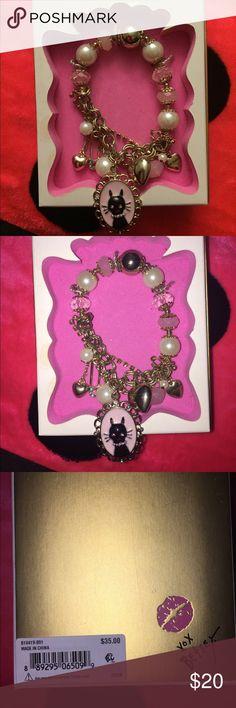 BETSEY JOHNSON HALF STRETCH BRACELET Betsey Johnson cat charm bracelet. Comes in original box. Never worn. Betsey Johnson Jewelry Bracelets