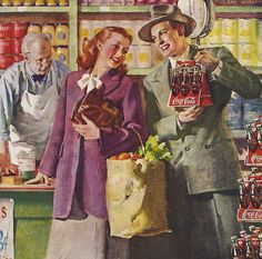 Hospitality Starts Here - detail from 1948 Coca Cola ad.