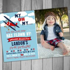 Airplane Birthday Invitation Airplane Invitation by CLaceyDesign