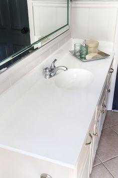 Marble Countertops for Bathroom Lovely Diy Painted Bathroom Sink Countertop Bless Er House Painting Bathroom Countertops, Diy Countertops, Bathroom Flooring, Paint Laminate Countertops, Granite Bathroom, Kitchen Tile, White Bathroom, Small Bathroom, Bathroom Ideas