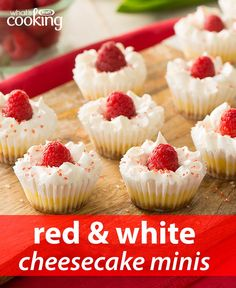 Make your Canada Day celebration sweeter with these red-and-white cheesecake minis. You'll need just 15 min to prep these cute desserts. Click or tap photo for this easy #recipe.