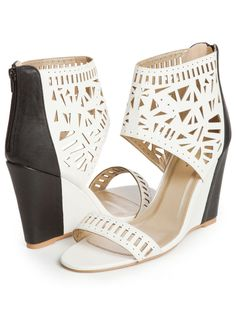 Color Block Perforated Wedges - Ashley Stewart