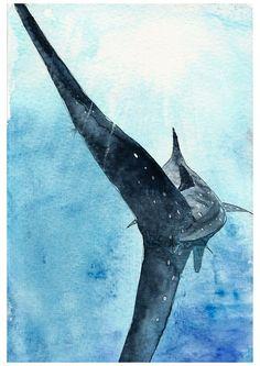 Whale shark wall art, sea life wall art, yoga room wall art, marine art print, boy z . Shark Art, Sea Shark, Whale Sharks, Whales, Shark Painting, Watercolor Whale, Watercolour Painting, Shark Drawing, Kids Room Wall Art