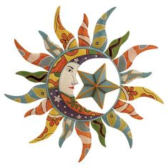 Colorful sun and moon. It reminds me of those made in Mexico :)