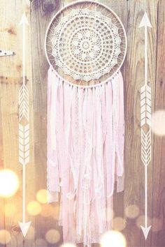 White+&+Pink+Crochet+Doily+Lace+Fabric+Dreamcatcher+//+Baby+Nursery+//+Shabby+Chic+//+Girly+//+Baby+Shower