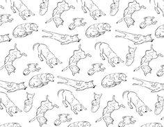 peaceful day by YooJin Guak #dog #animal #puppies #pattern #illustration