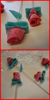 Rosa, Sant Jordi, gominoles Candy Art, Fruit Arrangements, Good Food, Projects To Try, Presents, Sweets, Create, Rose, School