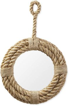 Serena & Lily Nautical Rope Mirror – Home Design Arts Rope Mirror, Arch Mirror, Diy Mirror, Beveled Mirror, Nautical Wreath, Nautical Rope, Anchor Wreath, Nautical Compass, Nautical Party