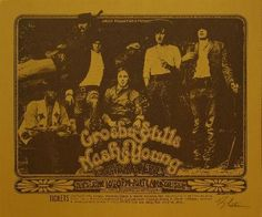 1970 Poster for the Direct Productions Presents Crosby, Stills, Nash, & Young with Taylor and Reeves at the Portland Coliseum in Portland, Oregon on June 16th.