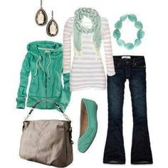 Green w/ navy pants instead of jeans