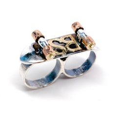 Brian sherry's gold and silver 2 finger skateboard ring (£815) ❤ liked on Polyvore featuring jewelry, rings, gold and silver rings, initial rings, initial jewelry, letter jewelry and dot jewelry