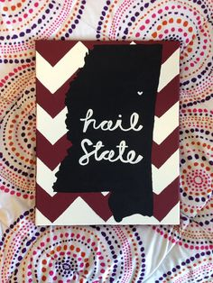 This would be perfect if I was the state of Oklahoma and said Boomer Sooner Mississippi State Football, State Canvas, Crafts To Make, Arts And Crafts, Chevron, Hand Painted Canvas, Down South, Dorm Decorations, Wall Signs