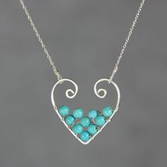 Sterling silver turquoise heart pendant necklace by AnniDesignsllc