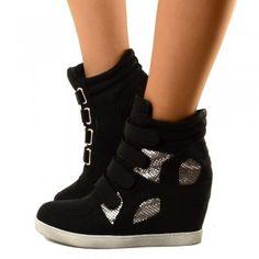 Sneakers Alte Donna con Zeppa Interna Allacciatura a Velcro Black