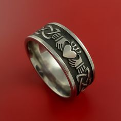 Titanium Celtic Irish Claddagh Ring Hands by StonebrookJewelry