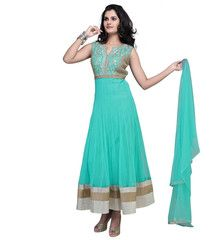 Aqua Green Color Net  Ready-made Salwar Suits ( Sizes - 36, 38, 40, 42, 44 ) : Rajeshwari Collection  YF-42281