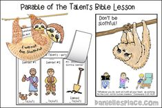 Parable of the Talents Bible lesson about slothfulness Preschool Bible Lessons, Bible Lessons For Kids, Bible For Kids, Sunday School Activities, Sunday School Crafts, Church Activities, Parable Of The Talents, Work For The Lord, Catholic Kids