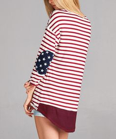 Loving this Red & White Stripe Star-Patch Hi-Low Tunic on #zulily! #zulilyfinds