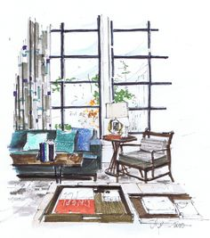 Steven Gambrel Interior, Rendering Michelle Morelan - art kind of way Interior Design Renderings, Drawing Interior, Interior Rendering, Interior Sketch, Interior Design Tips, Interior Architecture, Interior And Exterior, Interior Logo, Croquis Architecture