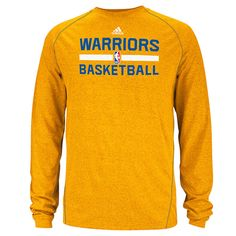 Golden State Warriors adidas CLIMALITE Long Sleeve Practice Graphic Tee - Gold
