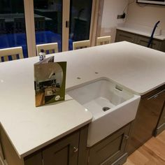 Installed The Bianco Carrina quartz worktops installed in the Market Weston area. A lovely kitchen design making use of the available space and maximising worksurface area. Granite, Kitchen Design, Sink, Bathtub, Marketing, Home Decor, Sink Tops, Standing Bath, Cuisine Design