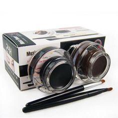 Лучший 2 в 1 Коричневый + Черный Гель Подводка Для Глаз Макияж водонепроницаемый И Смазыванию доказательство Косметики Установили Eye Liner Kit in Eye Liner макияж