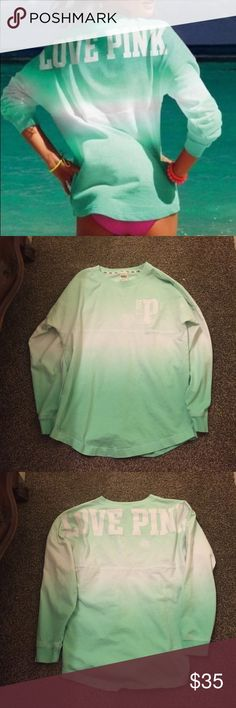 Victoria secret ombré Excellent condition! Never worn(bought and tags were still on) there's two spots on it but I believe that's how it's suppose to be! No fading no peeling. Looking to trade for another VS PINK Victoria's Secret Tops Tees - Long Sleeve