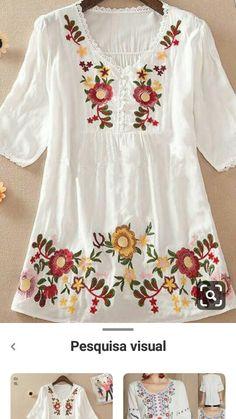 Embroidery On Kurtis, Kurti Embroidery Design, Embroidery On Clothes, Flower Embroidery Designs, Embroidered Clothes, Embroidery Dress, Indian Gowns Dresses, Pakistani Wedding Dresses, Blouse Styles