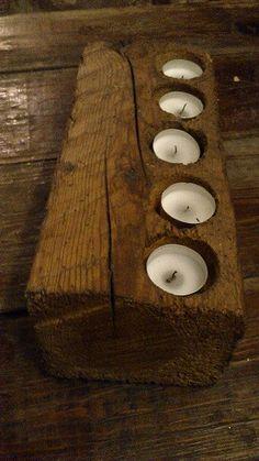 Portavelas elaborado con restos de una viga de enebro. #Fontioso. Santiago Baos.