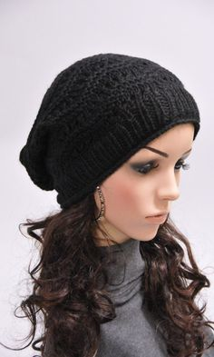 fb0dcf314bb Hand knit hat woman man unisex hat winter slouchy Black Wool Hat - ready to  ship