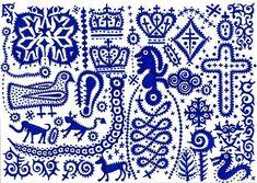 Folk Art Indigo and White Illustrations