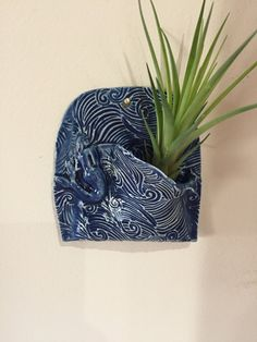 Ceramic Wall Pocket Vase Deep Blue With Mermaid Pottery Planter Hanging