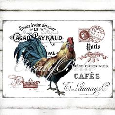 Vintage French Rustic Rooster Large A4 Instant by CreatifBelle