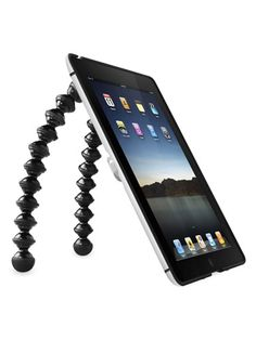 Your guy's gaga for his iPad because it goes where he does. These legs twist around handles on the fridge or a treadmill and stand straight up on counters and tables for prime iPad positioning. $40. #gifts #holidays #men #technology #iPad