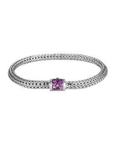 Classic Chain 5mm Extra-Small Braided Silver Bracelet, Amethyst by John Hardy at Neiman Marcus.