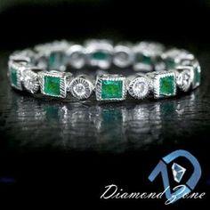 PRINCESS EMERALD ROUND DIAMOND ETERNITY BAND NATURAL GREEN 14K WG RING COCKTAIL