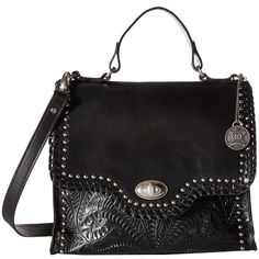 American West Hidalgo Top-Handle Convertible Flap Bag (Black)... ($228) ❤ liked on Polyvore featuring bags, handbags, shoulder bags, leather purses, leather handbags, floral handbags, american west handbags and shoulder strap handbags
