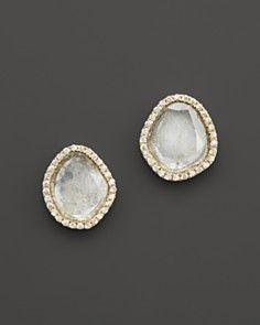 Meira T Diamond and Rough Diamond Slice Stud Earrings in 14K Yellow Gold