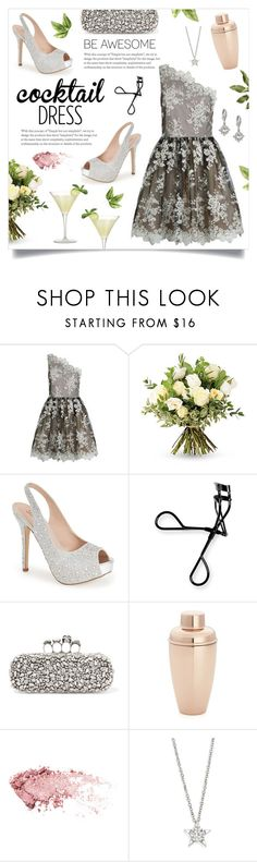 """""""Cocktail Dress"""" by linmari ❤ liked on Polyvore featuring Alice + Olivia, The Real Flower Company, Lauren Lorraine, Bobbi Brown Cosmetics, Alexander McQueen, Crate and Barrel, WALL, Hearts on Fire and Oscar de la Renta"""
