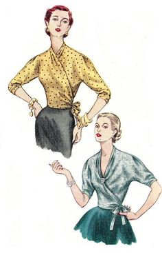 50s wrap blouse